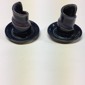 Other - Bay Pottery Candlestick Taper Blue/Purple Set Of 2